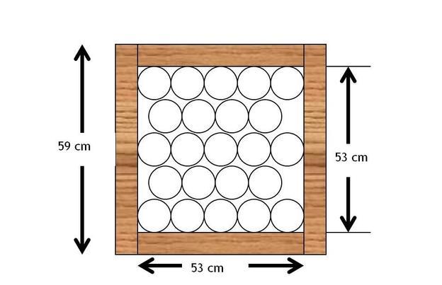 Maße und Anordnung der Köcher