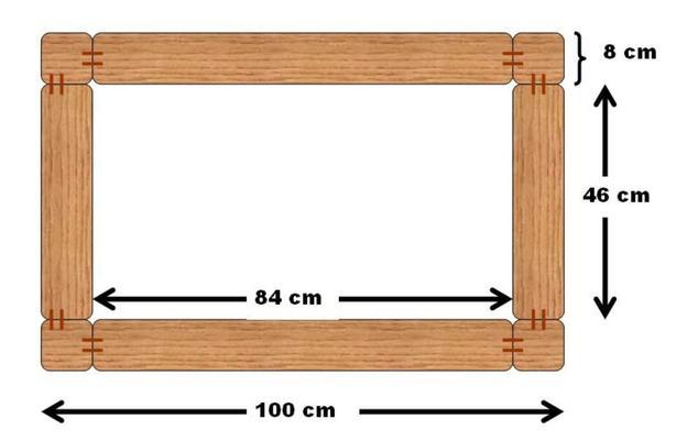 Untere Rahmen und Tischbeine von oben