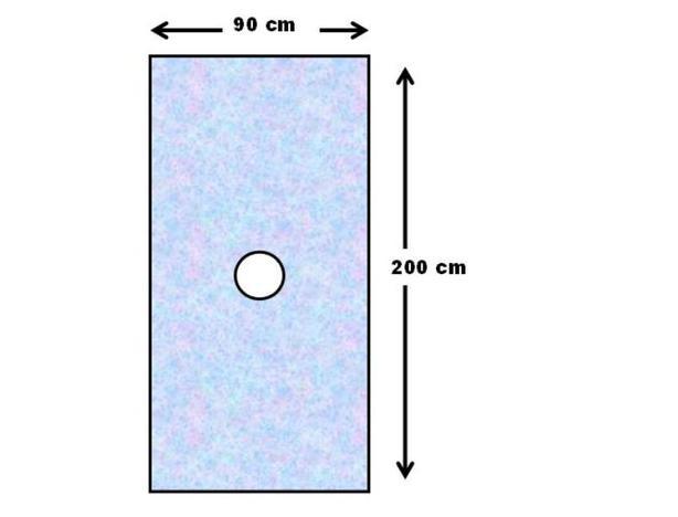 Der kreisrunde Halsausschnitt befindet sich in der Mitte des Stoffs