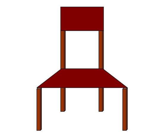 2) Ein Segment der Bank mit trapezförmiger Sitzfläche