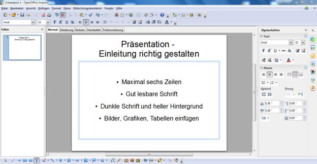 PowerPoint Folien zeigen den Inhalt der Rede in kurzen Sätzen.
