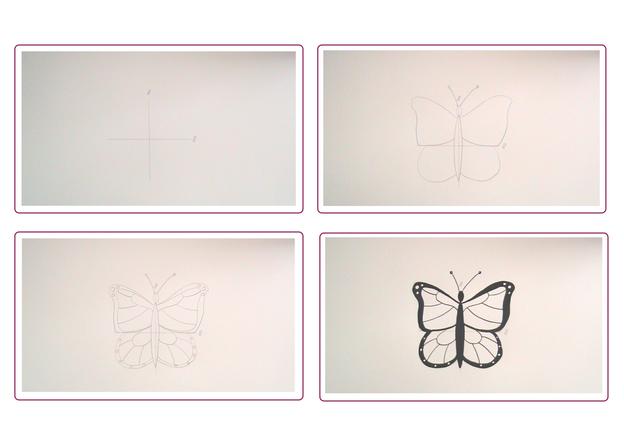 Zeichnen Sie Ihren Schmetterling Schritt für Schritt.