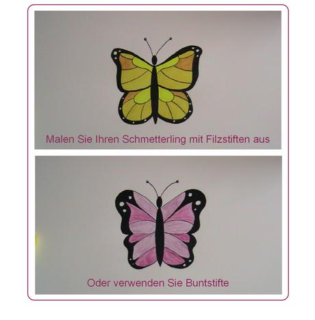 Malen Sie Ihren Schmetterling mit Bunt- oder Filzstiften aus.