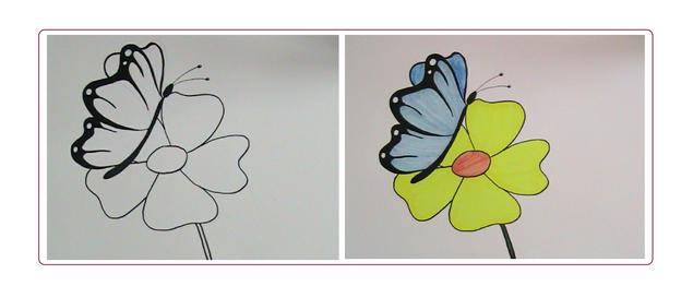Zeichnen Sie Schmetterlinge mit Blumen.