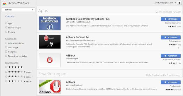 AdBlock ist eine kostenlose Erweiterung für Google Chrome.