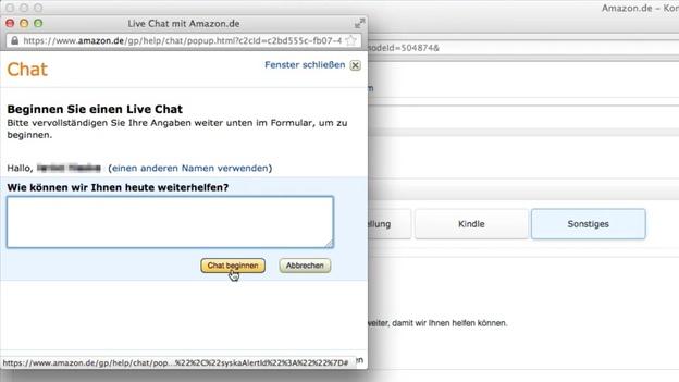 Sie können mit Amazon-Mitarbeitern auch chatten.