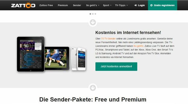 Fernsehen via Internet mit dem Anbieter Zattoo.