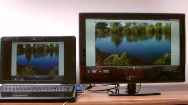 """Unter """"Mehrere Anzeigen"""" können Sie das gleiche Bild für Fernseher und Laptop einstellen."""