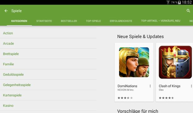 In der Spiele App finden Sie weitere Auswahlkriterien.