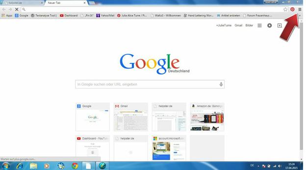 Stellen Sie Ihren Browser über die Schaltfläche ein.