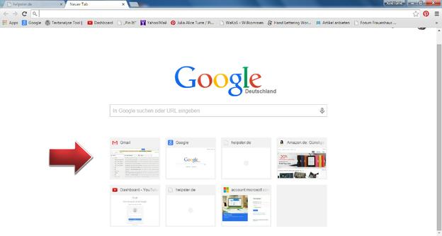 Die Startseite zeigt Ihnen meistbesuchte Webseiten an.