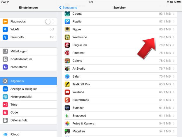 Suchen Sie in der Liste die App zum Löschen aus.