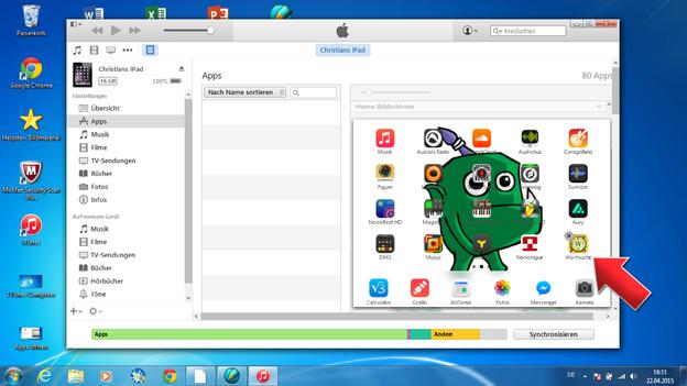 Doppelklick und Ihr Bildschirm zeigt Ihnen die installierten Apps an.