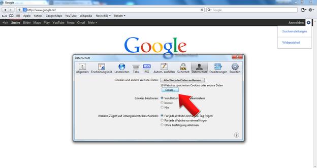 Über den Datenschutz gelangen Sie zu den gespeicherten Seiten.