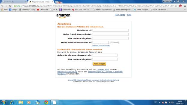 Registrieren Sie sich bei Amazon als Neukunde.