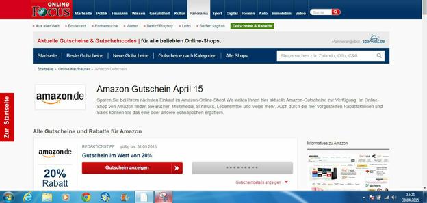 Im Internet finden Sie monatlich Gutschein- Codes für Amazon.
