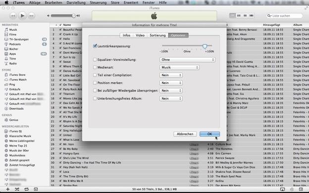 Lautstärke in iTunes erhöhen