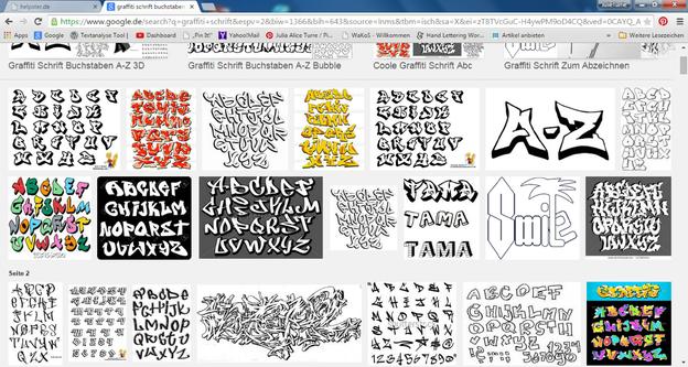 Im Internet finden Sie viele Graffiti- Schriftarten.