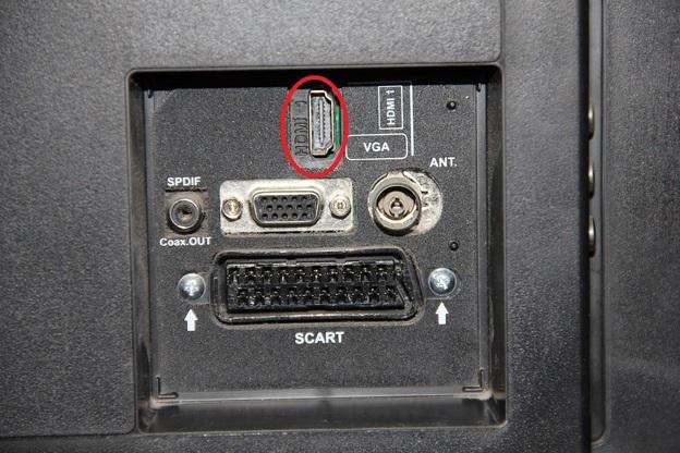 Hier kommt das HDMI-Kabel rein.