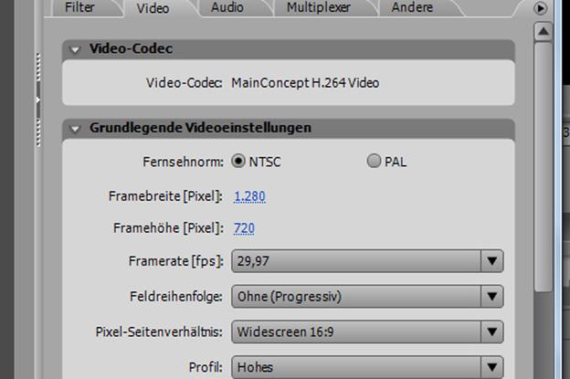 Videoabmessungen festlegen.