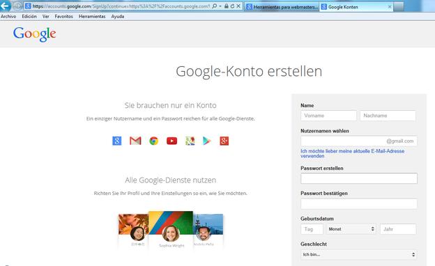 Melden Sie ein Konto bei Google an.