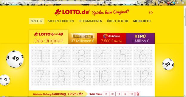 Die Startseite von lotto.de