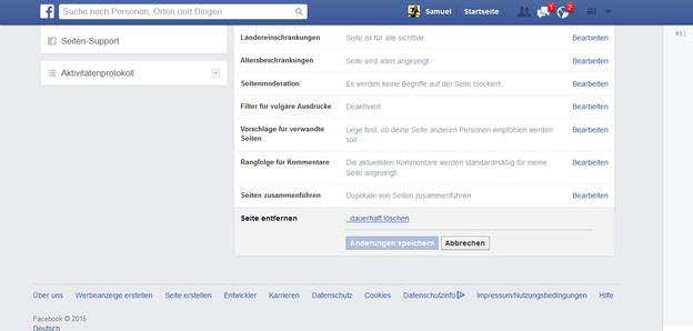 Die Seite von Facebook entfernen.