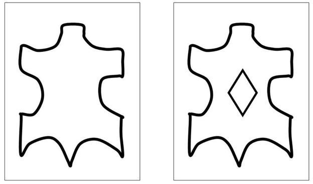 Links ist das Zeichen für Leder, rechts das Zeichen für beschichtetes Leder