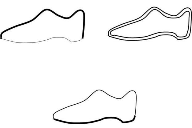 Oben links Obermaterial, oben recht Futter und Innensohle, unten Laufsohle
