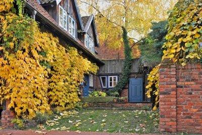 Im Herbst werden die Dachrinnen gesäubert