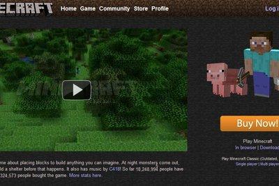 Die Minecraft-Webseite ist übersichtlich.