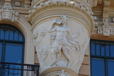 Pan, der mythische Hirtengott mit Flöte.
