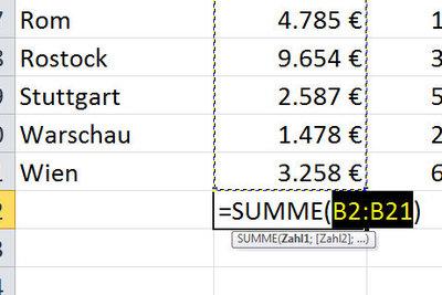 AutoSumme erleichtert die Addition in Excel.