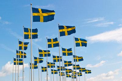 Schwedische Flaggen - Kennzeichen der Nationalität.