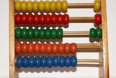Rechenhilfe Abakus auf em Dezimalsystem beruhend.
