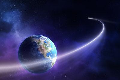 So fliegt die Erde um die Sonne.
