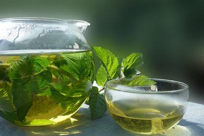 Ein Tee aus frischer Pfefferminze schmeckt im Sommer wie im Winter.