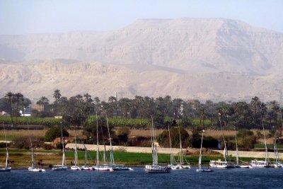 Ausblick auf das Nilufer bei Luxor in Ägypten.