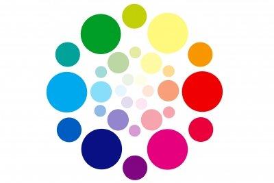 Die Farben bunt angeordnet in einem Kreis