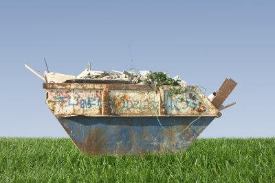 Ein Container, um Schutt abzufahren