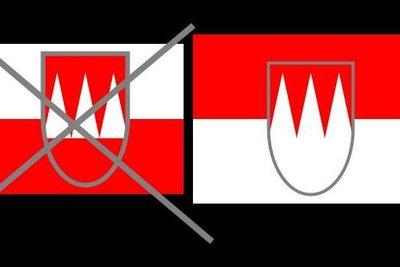 Die echte Franken-Flagge ist oben Rot.