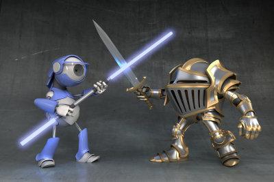 In der Zukunft kämpfen Roboter.