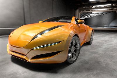 Ein orangefarbenes Roboter-Auto ist das Vorbild.