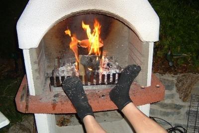 Ein Grill dient auch zum Aufwärmen.