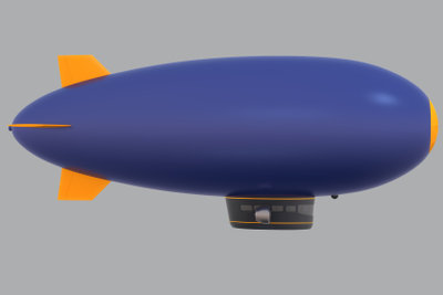 Ein Luftschiff fliegt mit Heliumgas.