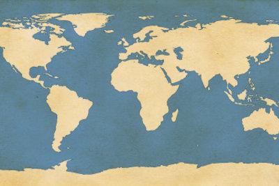 Das Poster einer Weltkarte ist einfach aufzuhängen.