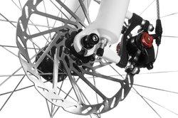 Scheibenbremsen am Fahrrad sind meist hydraulisch und sehr gut dosierbar.