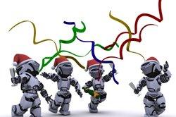 Roboter im Fasching? Immer gut gelaunt!