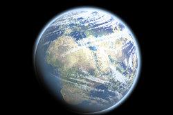 Unser nicht ganz runder, blauer Planet.