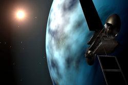 Ein Satellit umkreist die Erde.